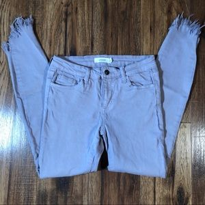 Cello gray Lavender jeans frayed hem size 3